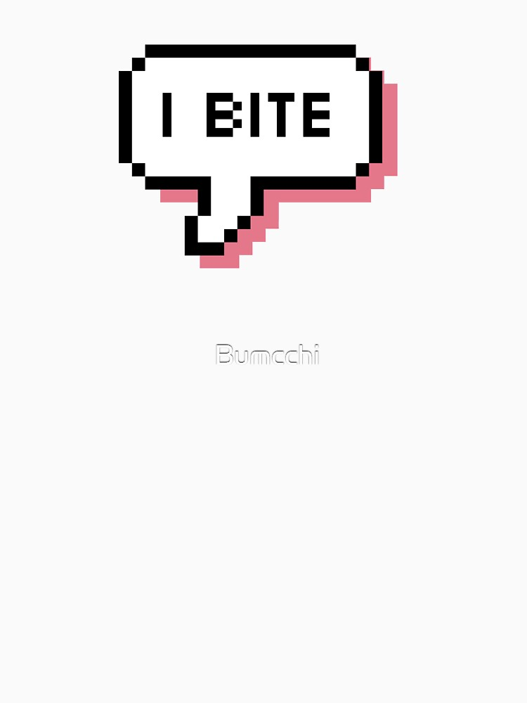 I Bite - Pixel Speech Bubble (Pink) by Bumcchi