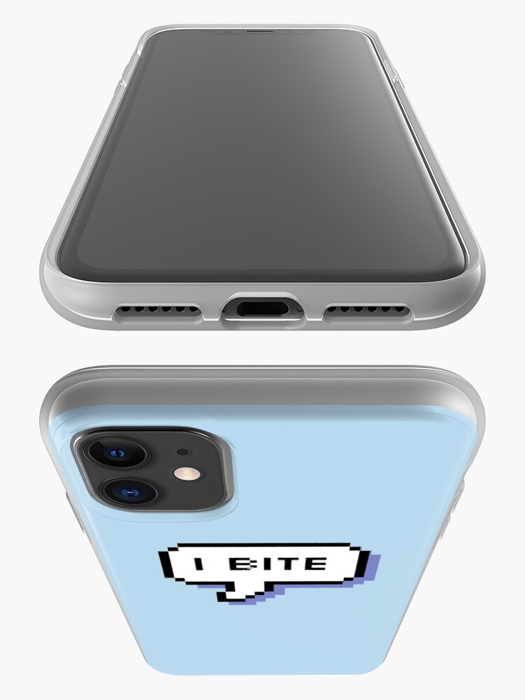 Alternate view of I Bite - Pixel Speech Bubble (Blue) iPhone Case & Cover