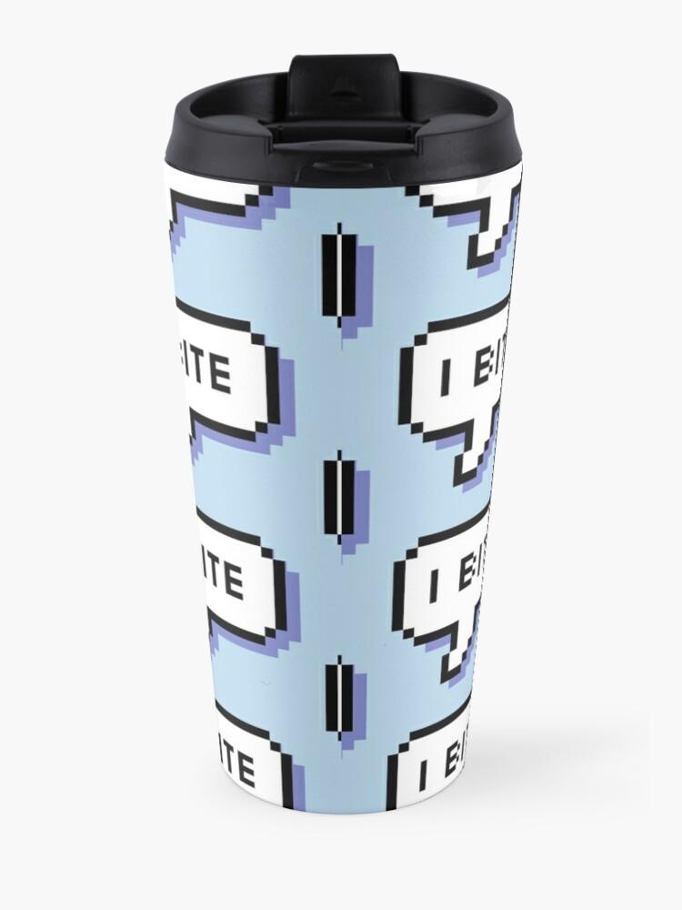 Alternate view of I Bite - Pixel Speech Bubble (Blue) Travel Mug