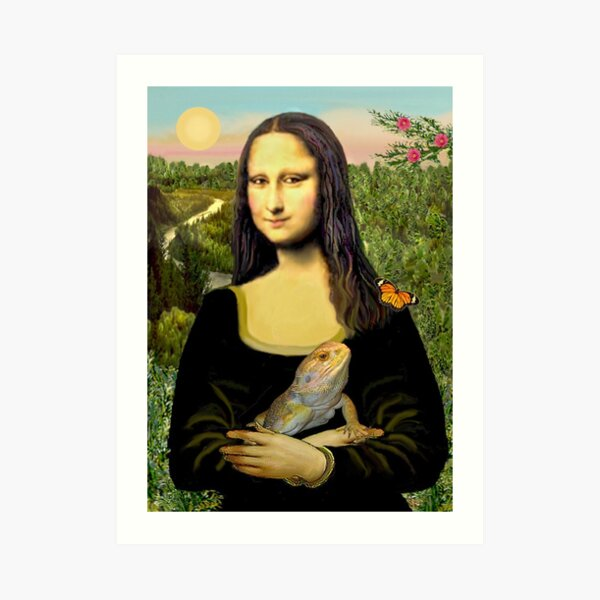 Mona Lisa with her Bearded Dragon Art Print