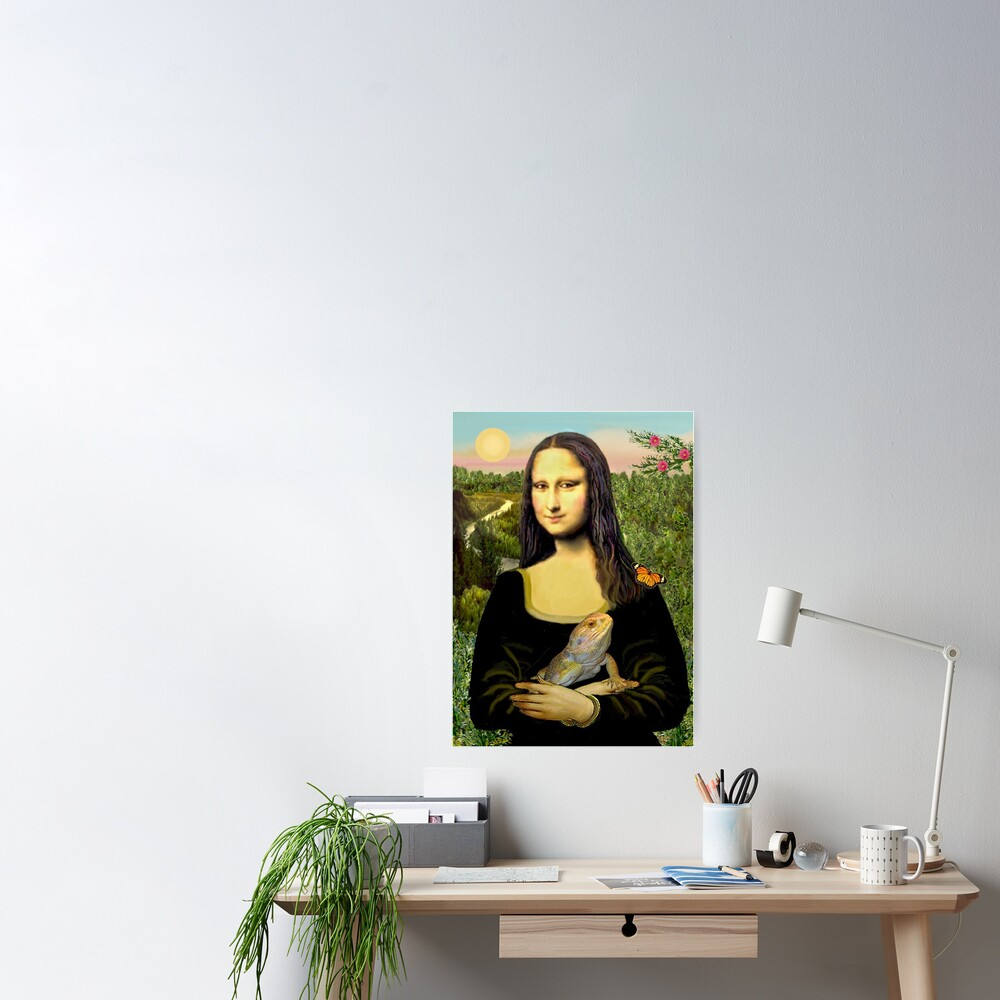 Mona Lisa with her Bearded Dragon Poster