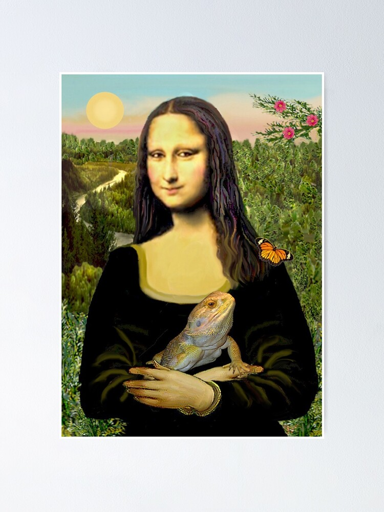Alternate view of Mona Lisa with her Bearded Dragon Poster