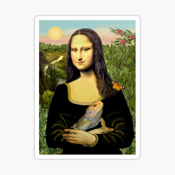 Mona Lisa with her Bearded Dragon Sticker