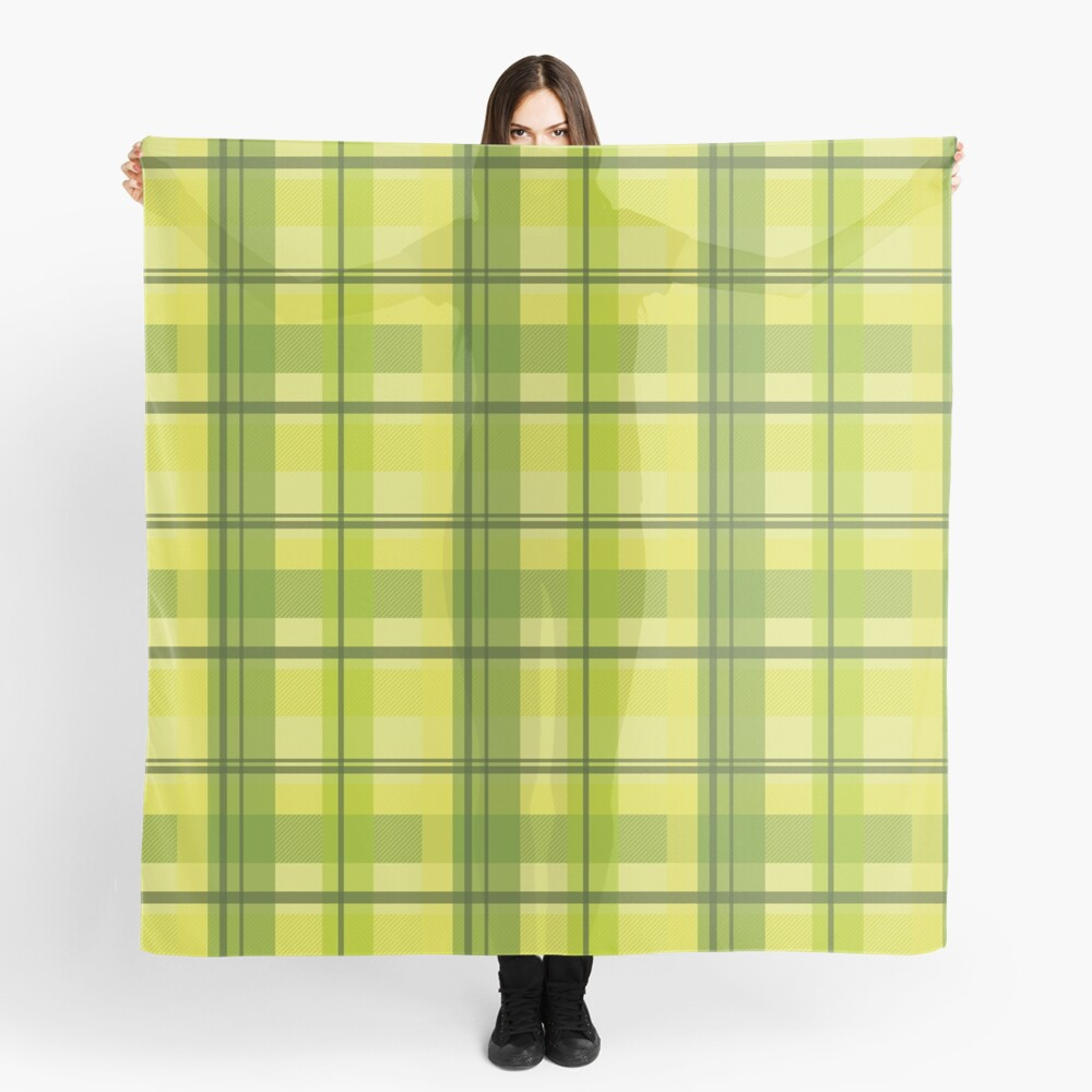 early summer plaid in happy yellow and juicy green seamless pattern	 Scarf
