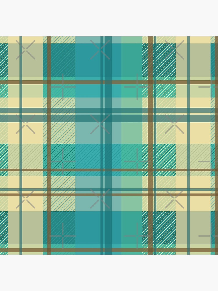 early summer plaid in calming cream, beige and turquoise seamless pattern	 by nobelbunt