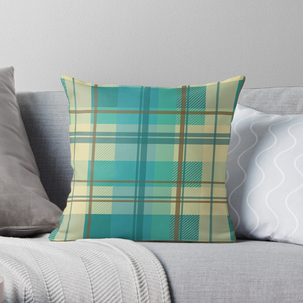 early summer plaid in calming cream, beige and turquoise seamless pattern	 Throw Pillow