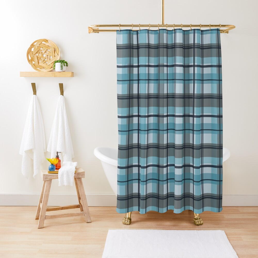 winter plaid in ice blue and navy seamless pattern Shower Curtain