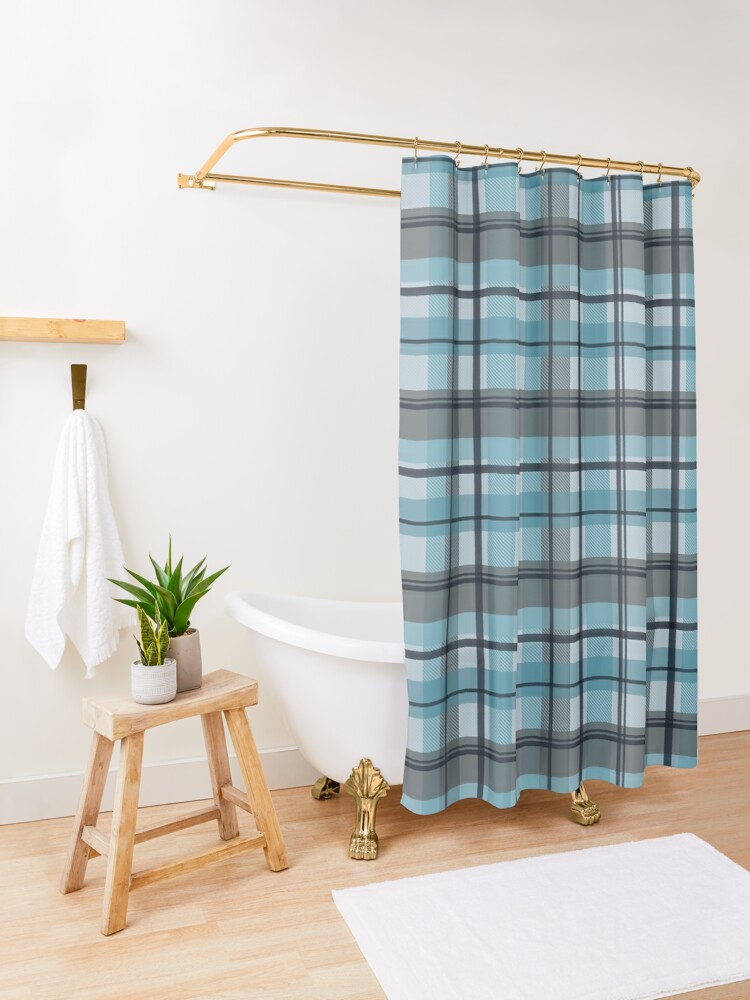 Alternate view of winter plaid in ice blue and navy seamless pattern Shower Curtain