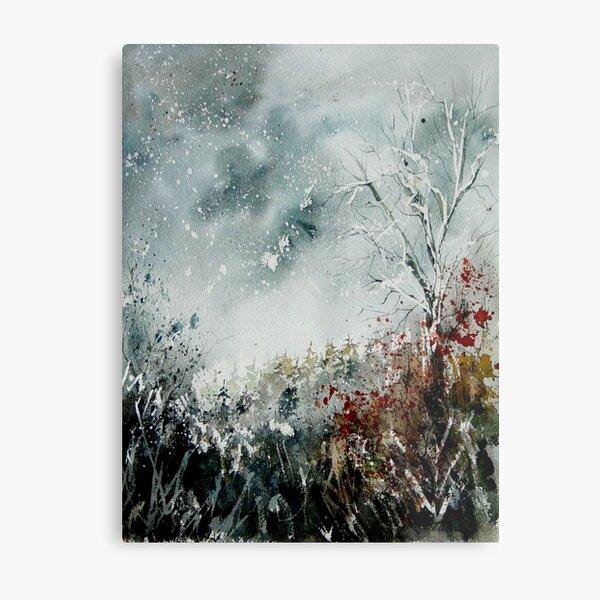 snowy landscape watercolor Metal Print