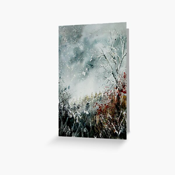 snowy landscape watercolor Greeting Card