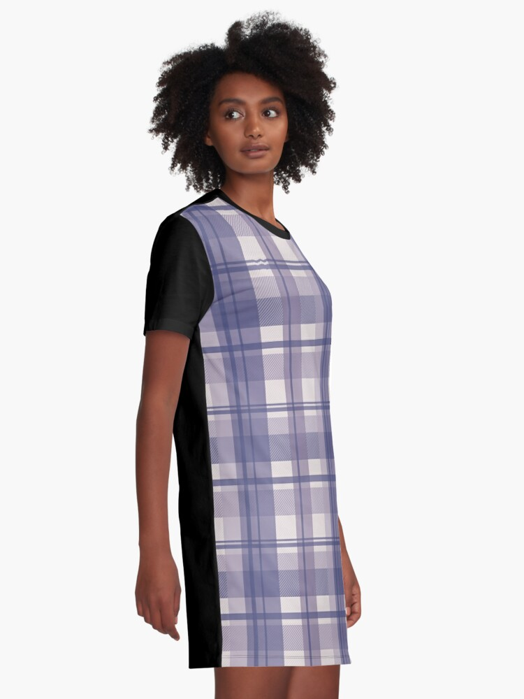 Alternate view of winter plaid in cool lavender and sand seamless pattern	 Graphic T-Shirt Dress