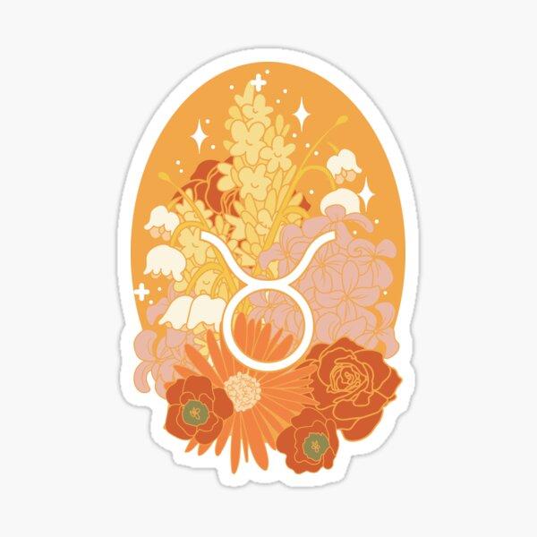 Taurus Flowers - ORANGE Sticker