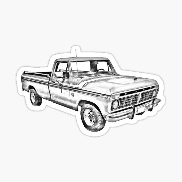 1975 Ford F100 Explorer Pickup Truck Illustrarion Sticker