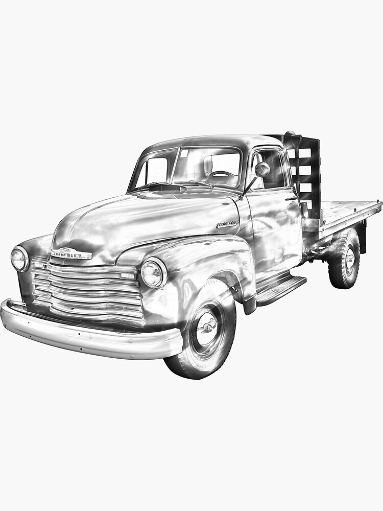 1950 Chevrolet Flat Bed Pickup Truck Illustration Sticker By