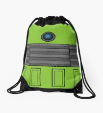 Not a robot. Green. Inspired by Daleks. Drawstring Bag