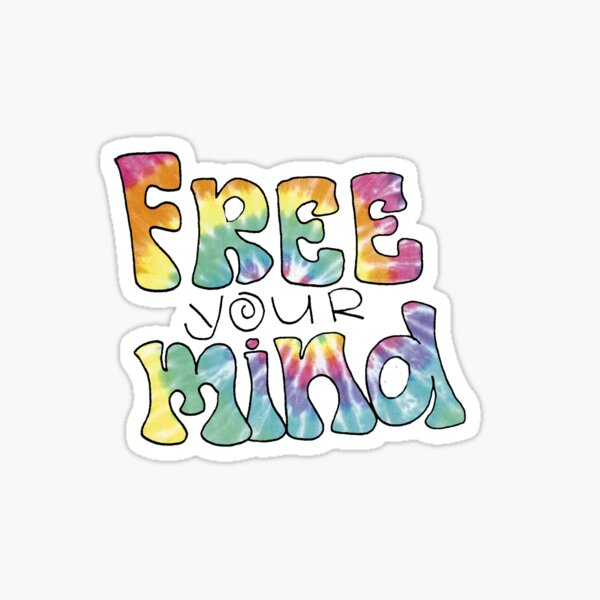 Tiedye Free Your Mind Quote Sticker