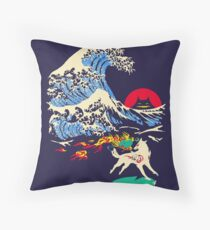 The Great Wave off Oni Island Throw Pillow