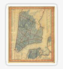 Pegatina Vintage Map of New York City (1846)