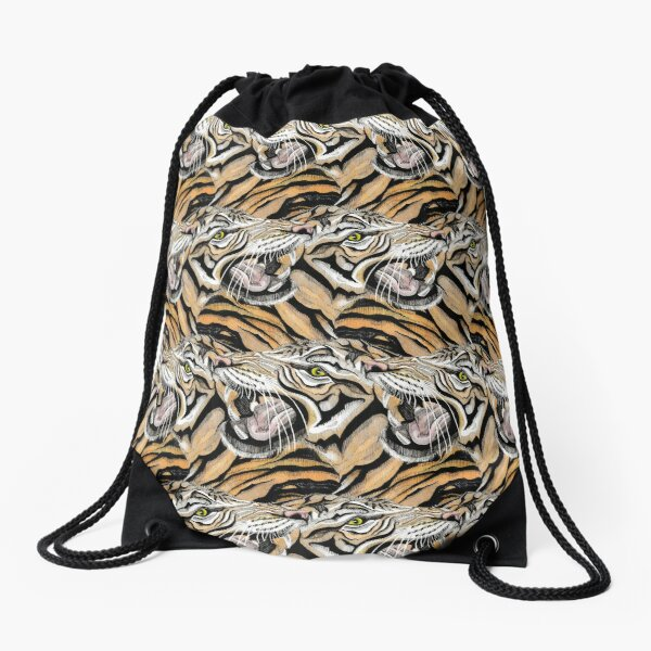 Tiger Pattern Drawstring Bag