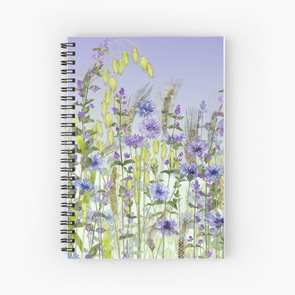 Blue Flower Field - Cornflowers, Catmint & Wheat Ears Spiral Notebook