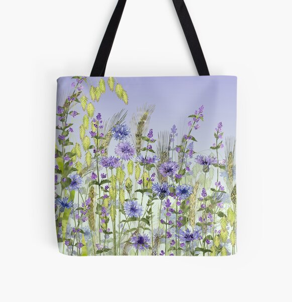 Blue Flower Field - Cornflowers, Catmint & Wheat Ears All Over Print Tote Bag