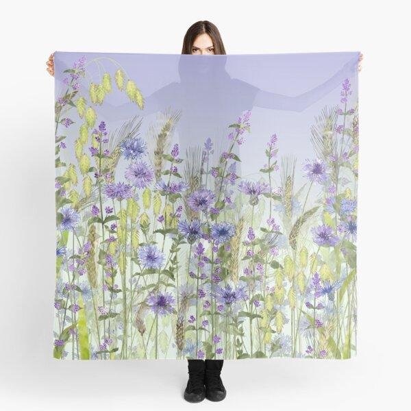 Blue Flower Field - Cornflowers, Catmint & Wheat Ears Scarf