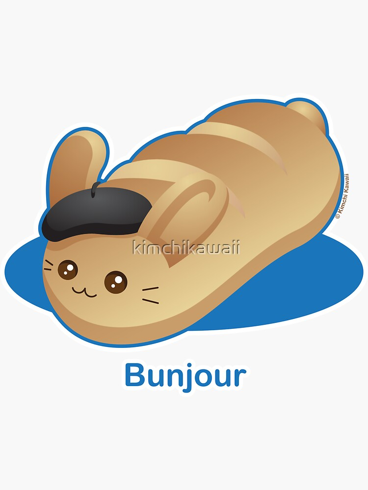 Bunjour -  Cute French Bread Bunny Pun by kimchikawaii