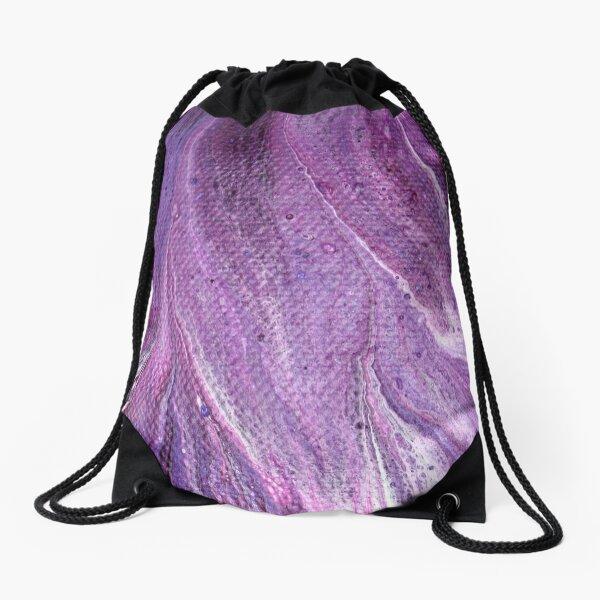 Purple Fluid Art 1 Drawstring Bag