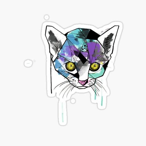 Geometric Watercolor Cat Sticker