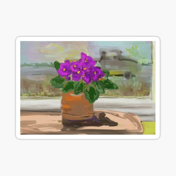 African Violet and view from window. Sticker
