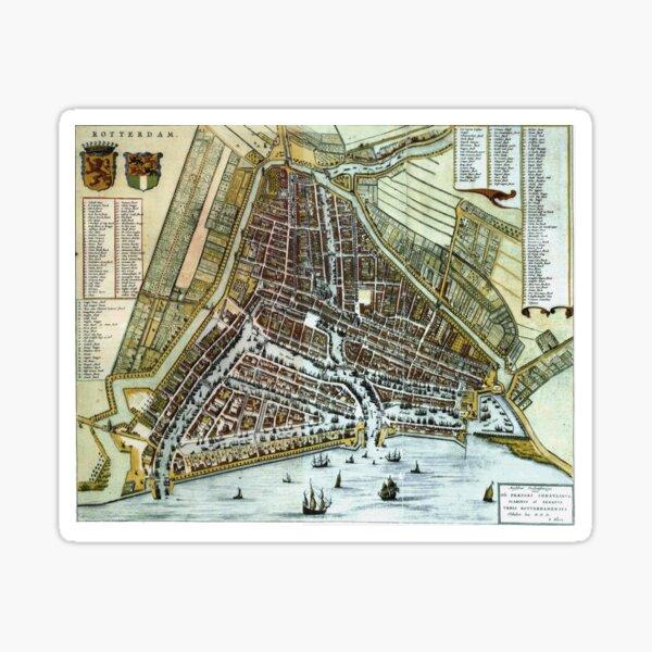 Vintage Map of Rotterdam Netherlands (1649) Sticker