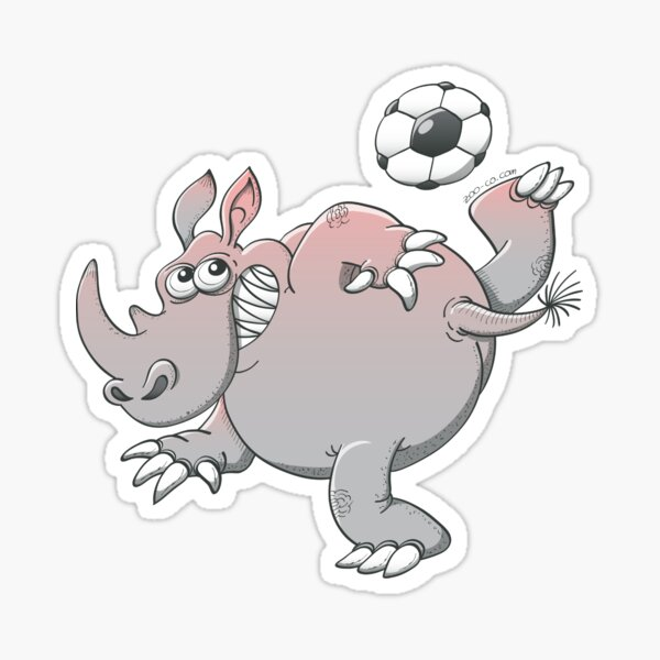 A Rhinoceros is the New Star of Soccer Sticker