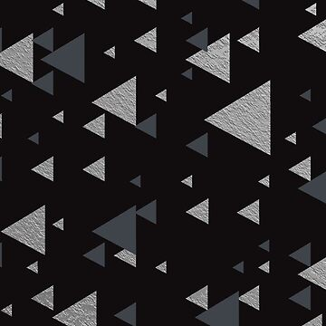 Matte Black Silver Triangles Chic Faux Shiny Metallic Geometric Pattern by jollypockets