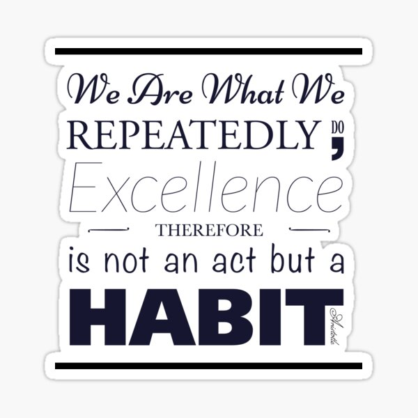 quote of aristotle we are what we repeatedly do... Sticker