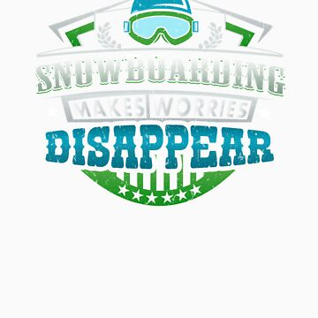 Snowboarding Makes Worries Disappear Athlete Gift by orangepieces