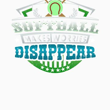 Softball Makes Worries Disappear Athlete Gift by orangepieces