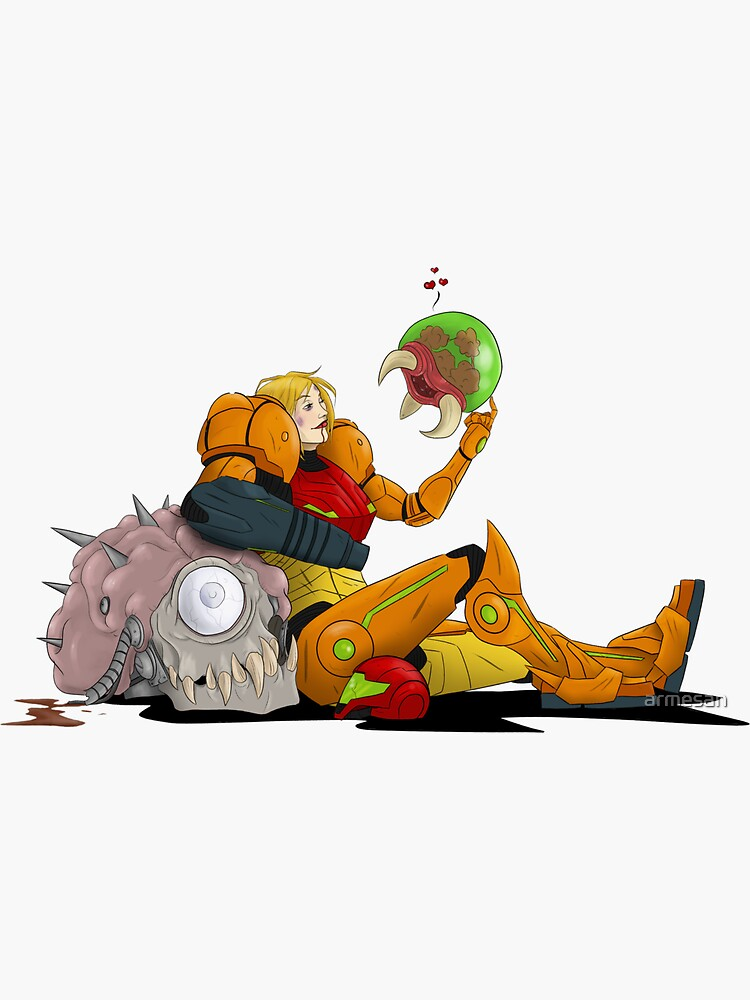 Samus and Baby Metroid by armesan