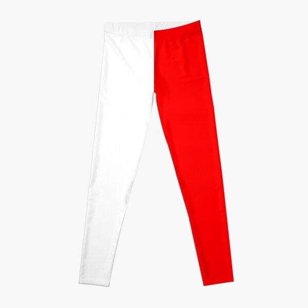 Half Red Half White Mini Skirt Leggings
