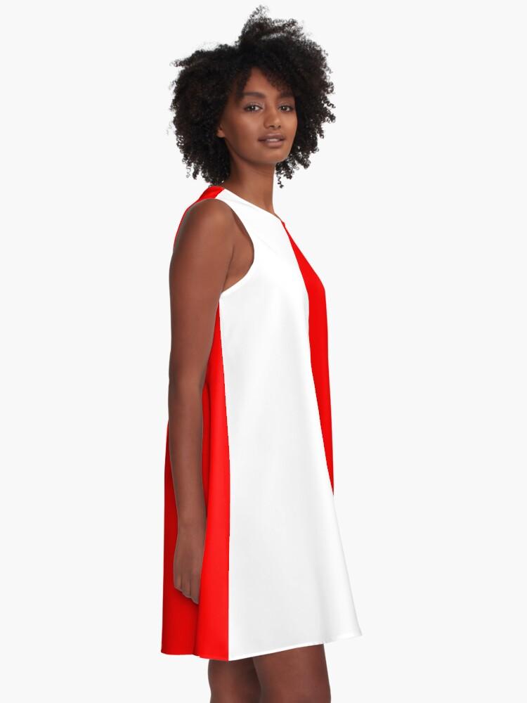 Alternate view of Half Red Half White Mini Skirt A-Line Dress