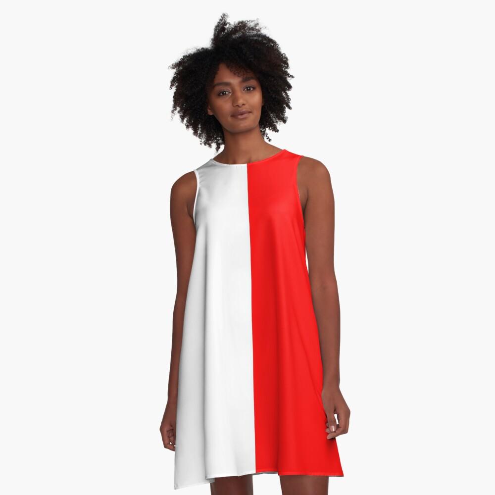 Half Red Half White Mini Skirt A-Line Dress