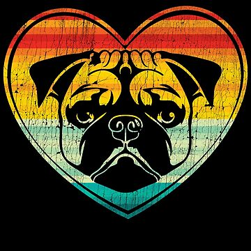 Pug Heart Retro Vintage T-Shirt by mjacobp