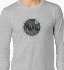 Dark Mystery Abstract Geometric Triangle Peak Wood's (black & white) T-Shirt