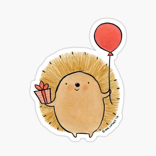 Feliz cumpleaños erizo Pegatina