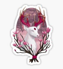 White Stag with Magnolias Sticker