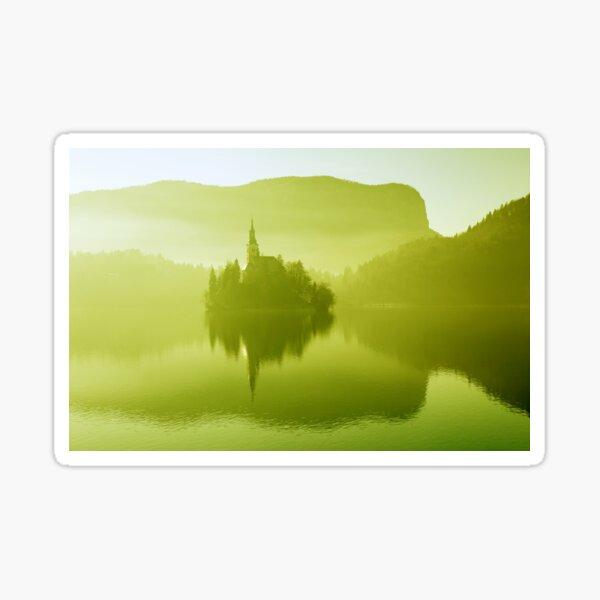 Church in mist on Lake Bled Slovenia Sticker