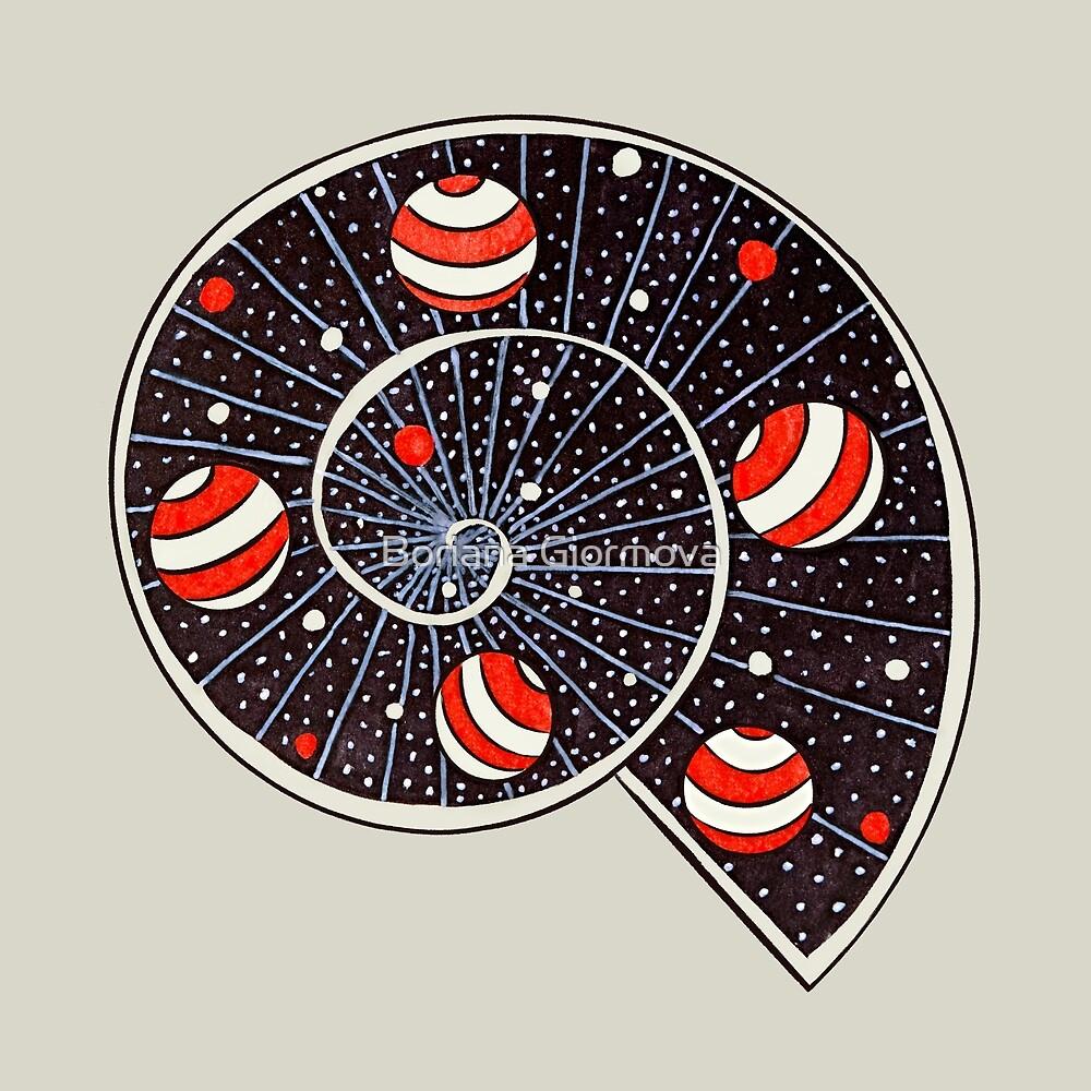 Spiral Galaxy With Beach Ball Planets by Boriana Giormova