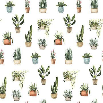 Topfpflanzen Aquarell Muster von junkydotcom