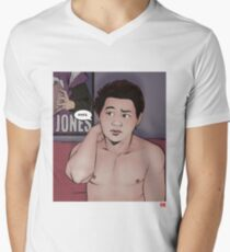 Mike - Time Flies - Black Text - Faux Swearing Men's V-Neck T-Shirt