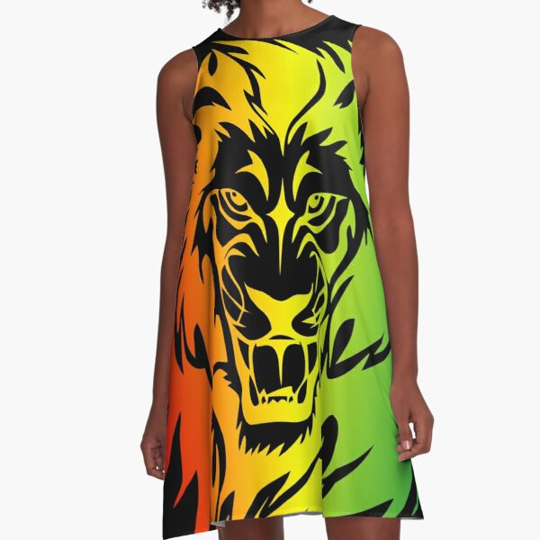 Rasta Lion of Judah Fire A-Line Dress