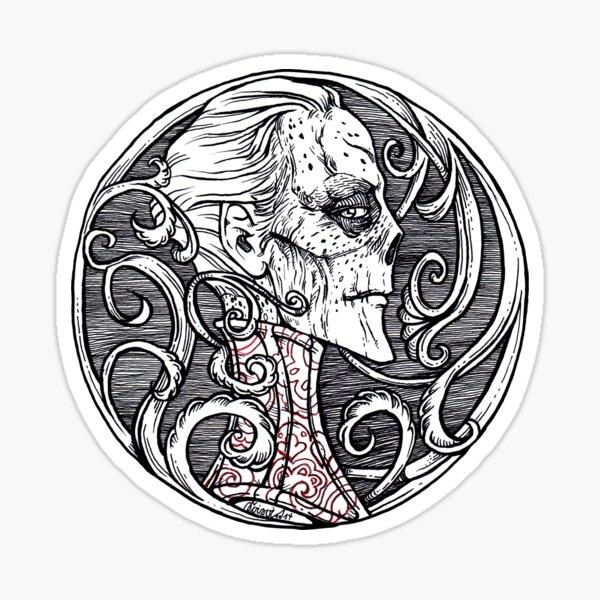 The Red Death - black & white version Sticker